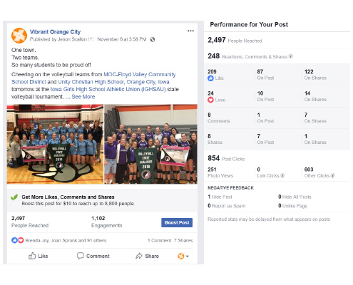MOC-Floyd Valley Volleyball - 4,400 impressions